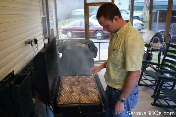 Grilling Chicken on a Meadow Creek Chicken Cooker
