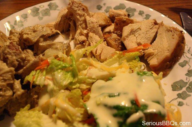 Smoked Chicken, Potatoes, and Salad