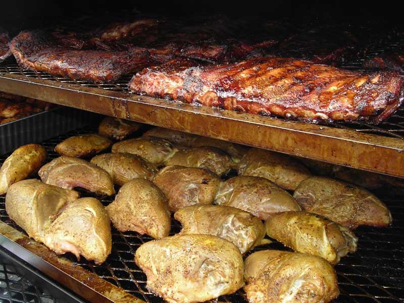 Smoked Ribs and Chicken on a Meadow Creek Tank Smoker