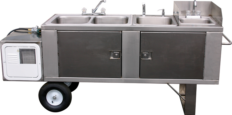 Stainless Steel Self-Contained Sink for BBQ Trailers