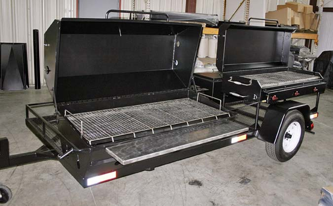 Custom Bbq Trailer With 1 Pr60 Pig Roaster Stainless Steel Shelf Bbq60g
