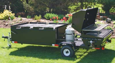 Custom BBQ Trailer With Pig Roaster and BBQ Pits